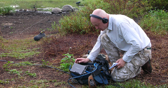 Chris Watson recording in the field. Photo: Donald Strydom, courtesy of Touch Music.